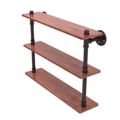 Pipeline Collection 22 in. Ironwood Triple Shelf in Antique Bronze