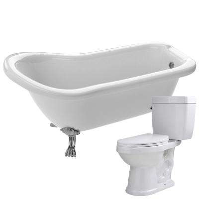 Pegasus 66.93 in. Acrylic Clawfoot Non-Whirlpool Bathtub in White with Talos 2-Piece 1.6 GPF Single Flush Toilet