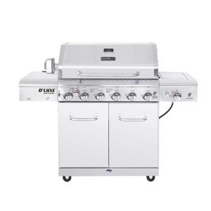 Click here to buy Nexgrill Deluxe 6-Burner Propane Gas Grill in Stainless Steel with Ceramic Searing Side Burner and Ceramic Rotisserie Burner by Nexgrill.