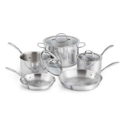 8-Piece Tri-Ply Stainless Steel Cookware Set with Lids