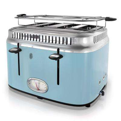 Retro Style 4-Slice Heavenly Blue and Stainless-Steel Toaster