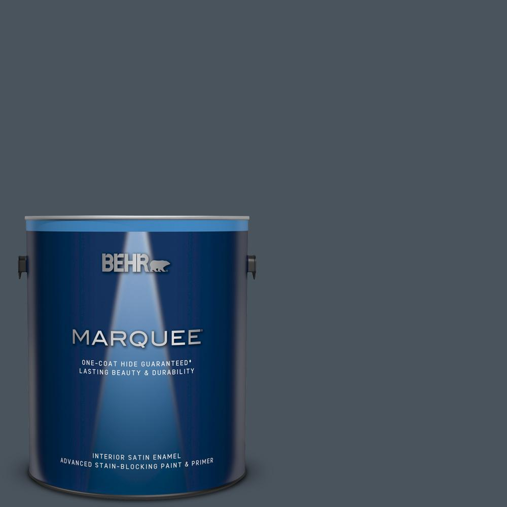 N480 7 Midnight Blue One Coat Hide Satin Enamel Interior Paint And Primer In