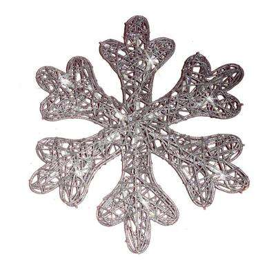 Battery Operated 25-Light LED Spun Glitter Silver Snowflake