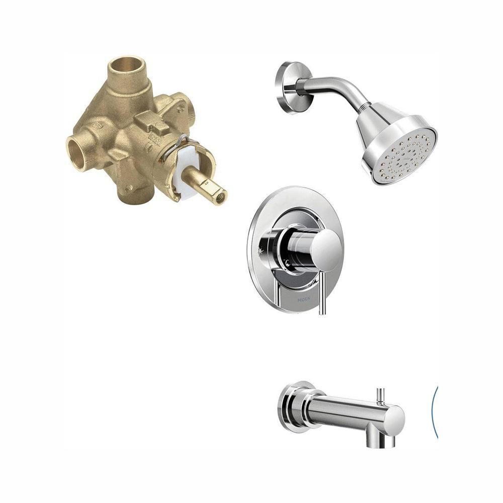 MOEN Align Single-Handle 1-Spray PosiTemp Tub and Shower Faucet Trim Kit with Valve in Chrome (Valve Included)
