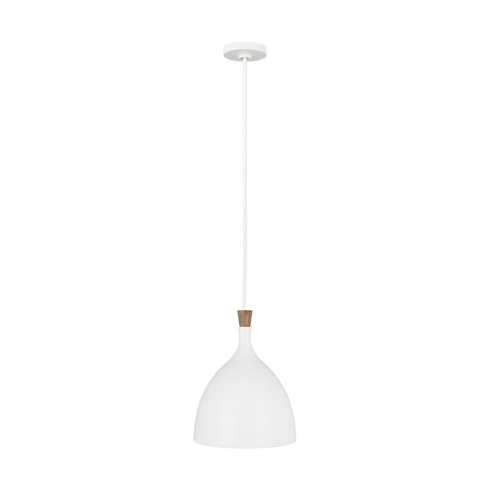 Generation Lighting Designer Collections ED Ellen DeGeneres Crafted by Generation Lighting Darwin 12 in. W 1-Light Matte White Pendant with Wood Crown Accent