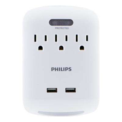 3-Outlet 2 USB 2.1 Amp Surge Protector Tap with Guidelight, White