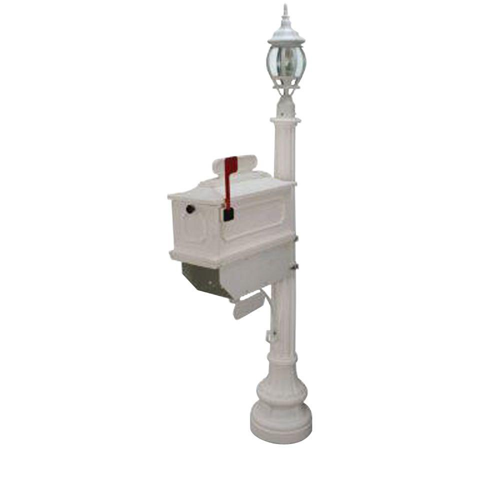 Postal Products Unlimited 1812 Beaumont 72 in. Plastic White Mailbox with Lantern Post