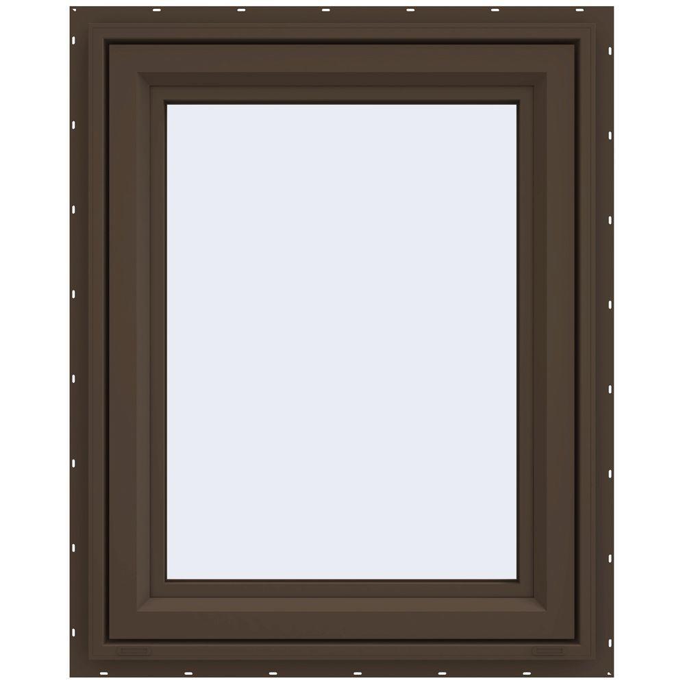 23.5 in. x 29.5 in. V-4500 Series Left-Hand Casement Vinyl Window - Brown