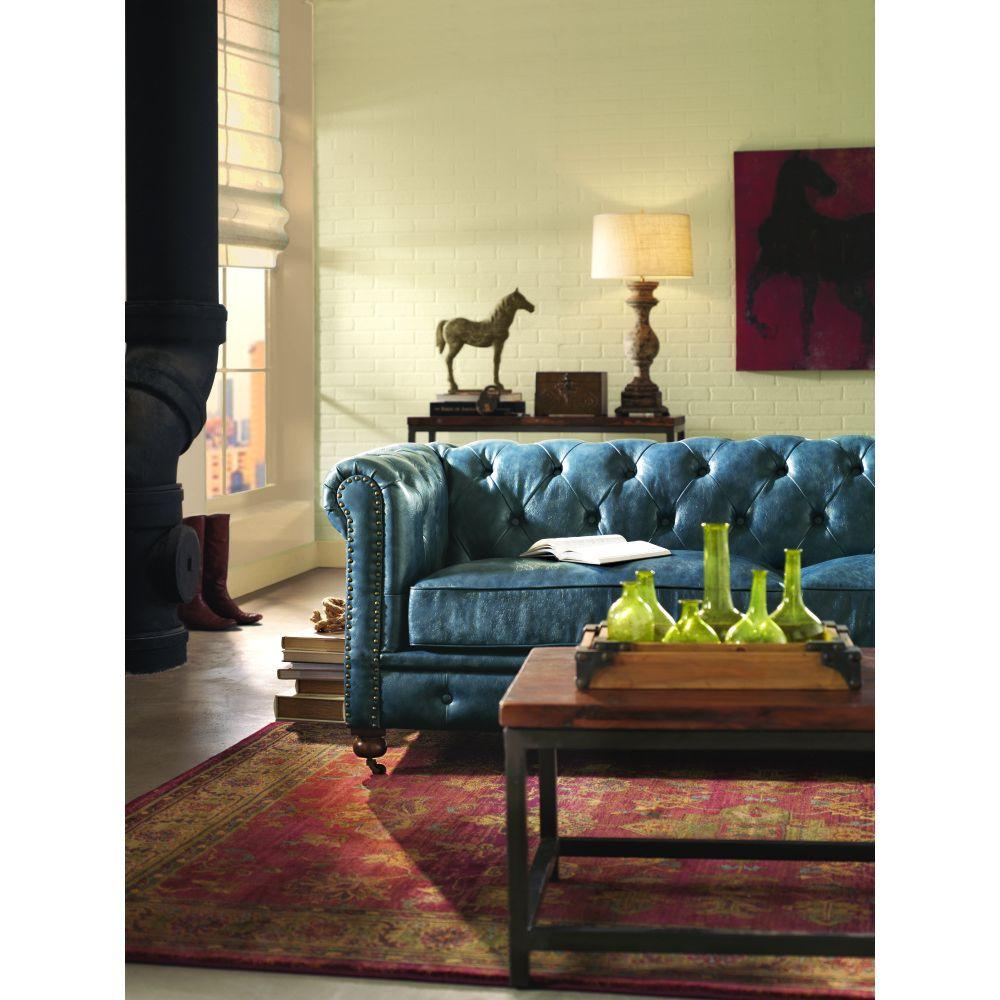Home Decorators Collection Gordon Blue Leather Sofa 0849400310 The Home Depot