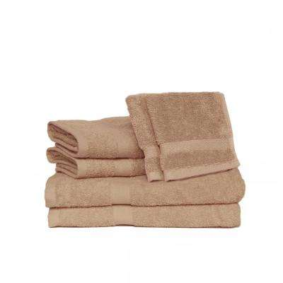 Deluxe 6-Piece Cotton Terry Bath Towel Set in Taupe