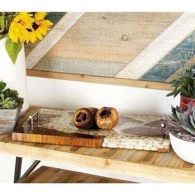 Brown/Tans Decorative Tray with White Accents