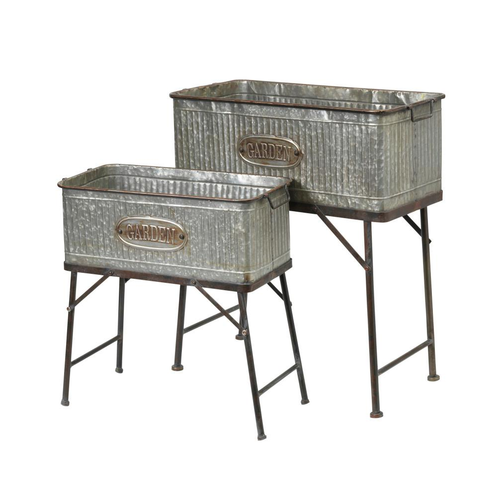 Gerson 28.9 in. x 30.9 in. Galvanized Metal Oversized Plant Stands (Set of 2)