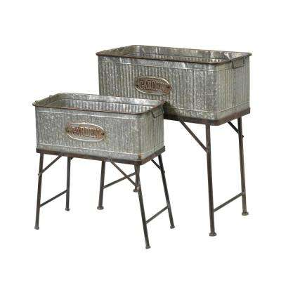 28.9 in. x 30.9 in. Galvanized Metal Oversized Plant Stands (Set of 2)