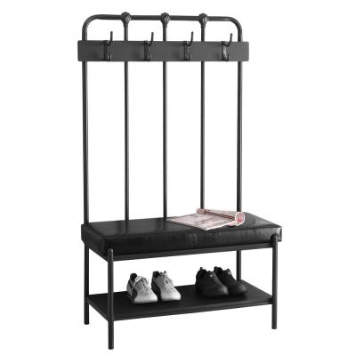 Charcoal Grey Metal Hall Entry Bench
