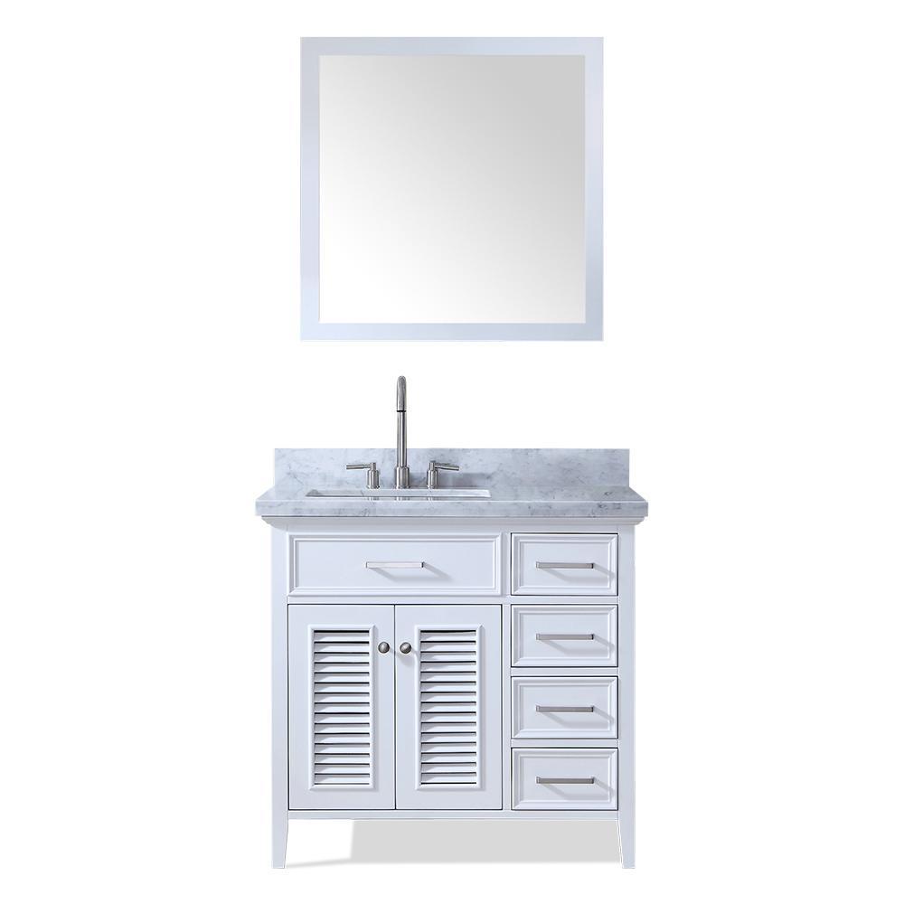 Kensington 37 in. Bath Vanity in White with Marble Vanity Top in Carrara White with White Basin and Mirror
