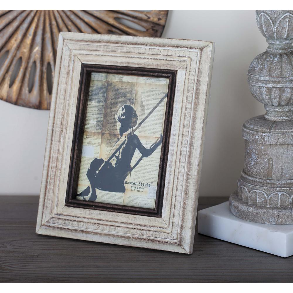 1-Opening 8 in. x 10 in. Rustic White and Black Picture Frame-79067 ...