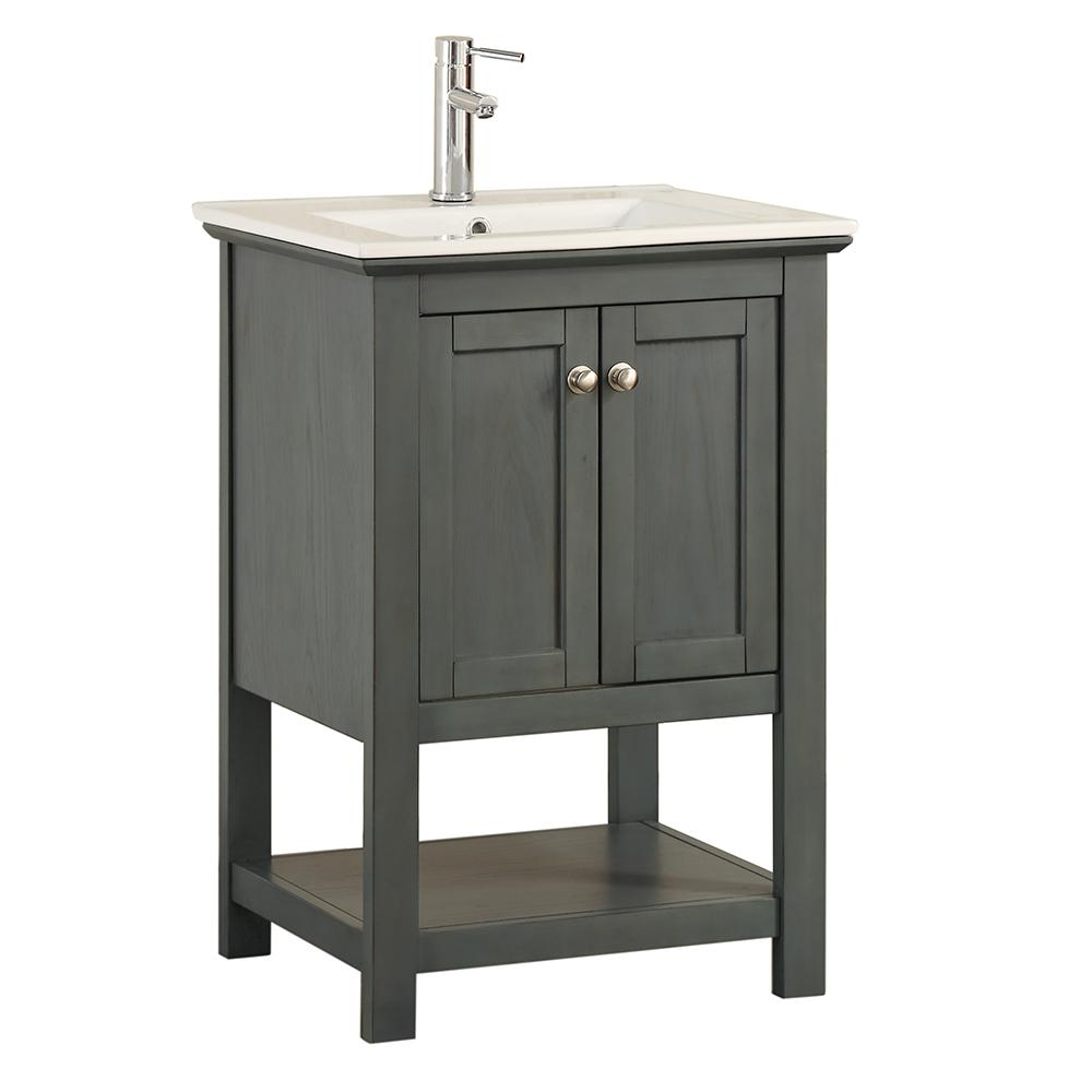 W Traditional Bathroom Vanity In Gray With Ceramic Vanity Top