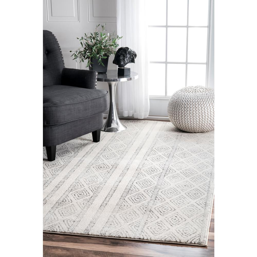 Nuloom Sarina Diamonds Gray 8 Ft X 10 Area Rug