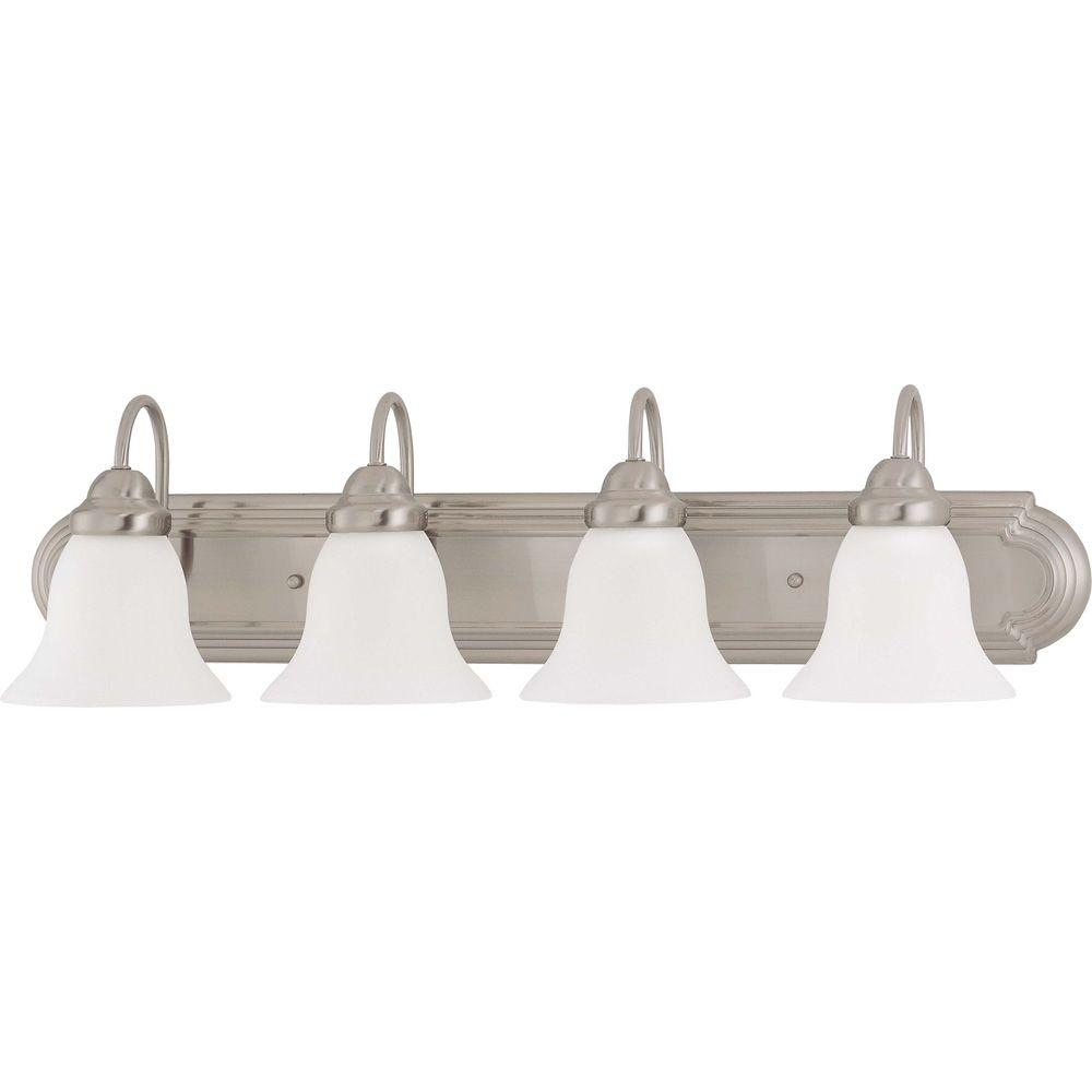 Glomar 4-Light Brushed Nickel Vanity Light with Frosted White Glass