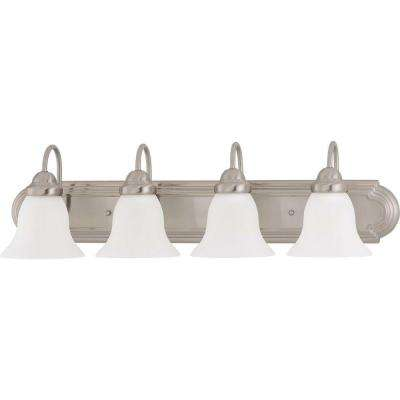 4-Light Brushed Nickel Vanity Light with Frosted White Glass