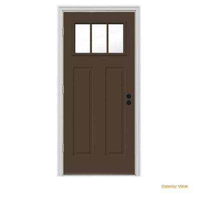 34 in. x 80 in. 3 Lite Craftsman Dark Chocolate Painted Steel Prehung Right-Hand Outswing Front Door w/Brickmould
