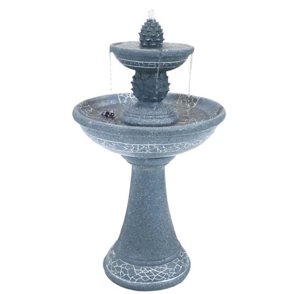 34 in. Dual Pineapple Solar with Battery Backup Outdoor Tiered Water Fountain with LED Lights (5-Pieces)