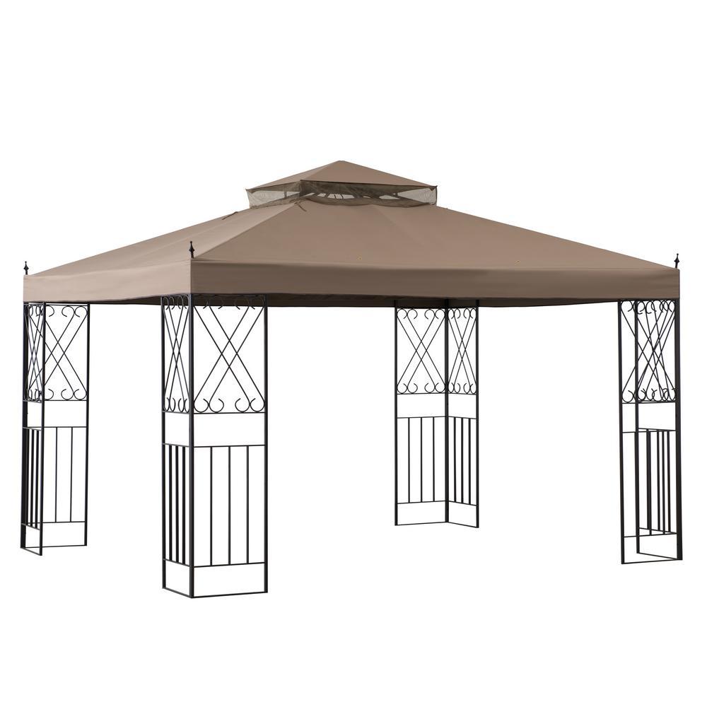 Acworth 10 ft. x 12 ft. Steel Gazebo with 2-Tier Khaki Canopy
