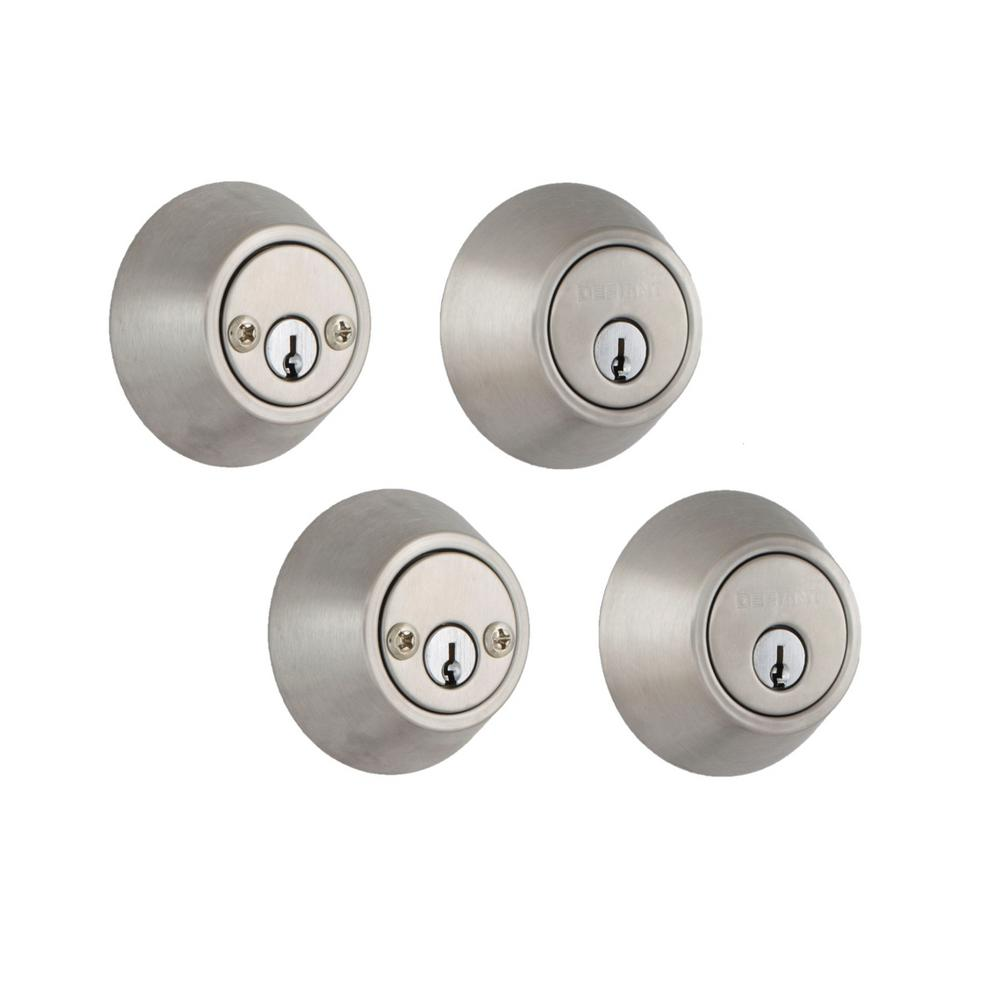 Defiant Stainless Steel Double Cylinder Deadbolt (2-Pack)