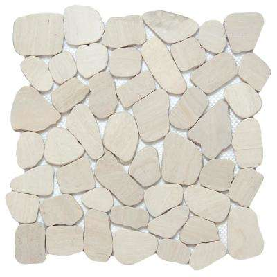 Cultura Ivory Honed and Tumbled 11.81 in. x 11.81 in. x 8 mm Pebbles Mesh-Mounted Mosaic Tile