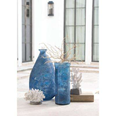 Caldas 15 in. x 8 in. Textured Indigo Glass Decorative Bottle