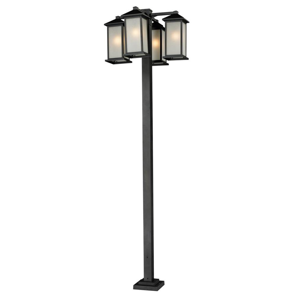 Lawrence 4-Light Black Incandescent Outdoor Post Light