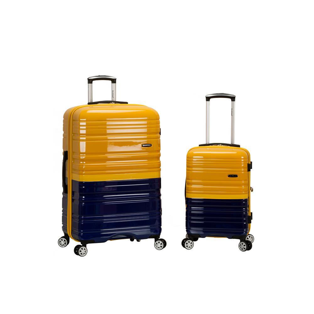 2Tone Navy/Orange Expandable 2-Piece Hardside Spinner Luggage Set