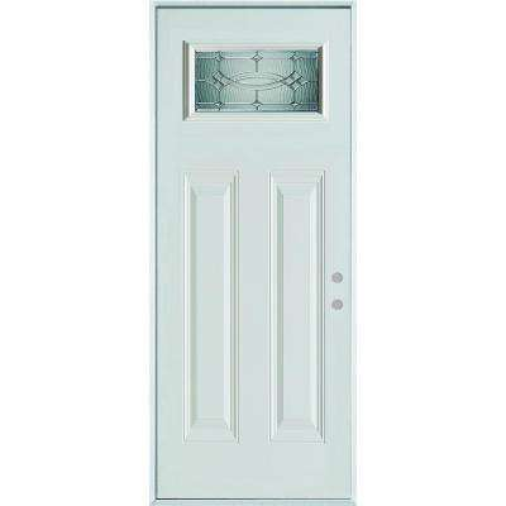 36 in. x 80 in. Diamanti Classic Zinc Rectangular Lite 2-Panel Painted White Left-Hand Inswing Steel Prehung Front Door