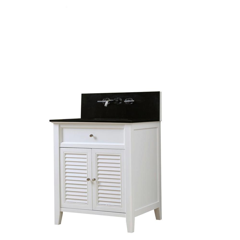 Direct vanity sink Shutter Premium 32 in. Vanity in White with Granite Vanity Top in Black with White Basin
