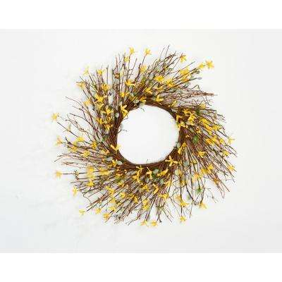24 in. Forsythia Pussy Willow Twig Wreath