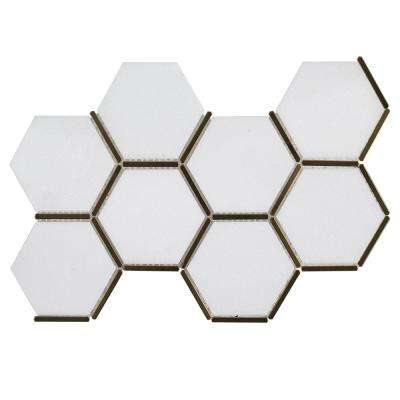 Laurel Brass White 8.625 in. x 15.125 in. x 9 mm Hexagon Honed Marble and Metal Wall and Floor Mosaic Tile
