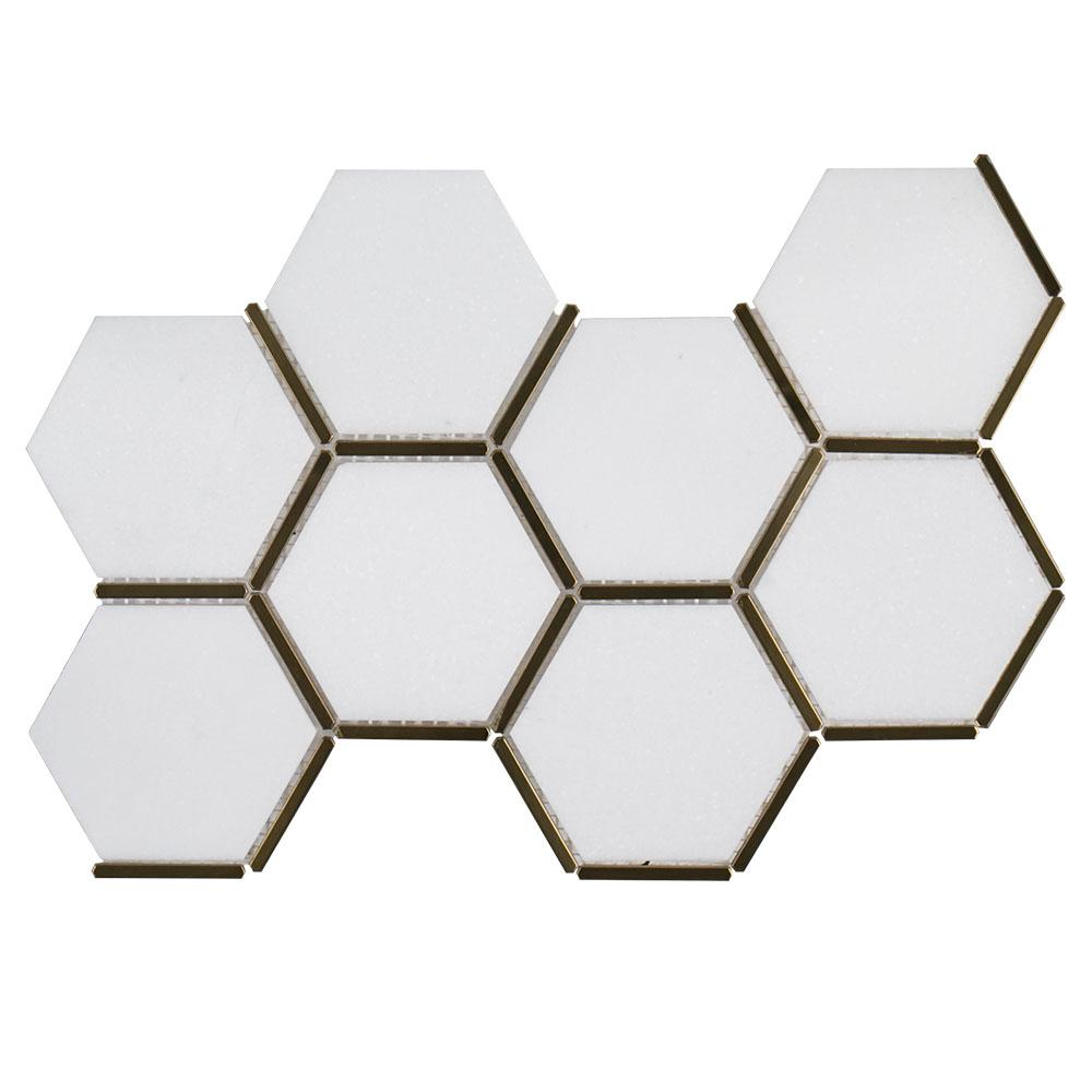 Jeff Lewis Laurel Brass White Honeycomb 8.625 in. x 15.125 in. x 9 mm Honed Marble and Metal Mosaic Floor and Wall Tile