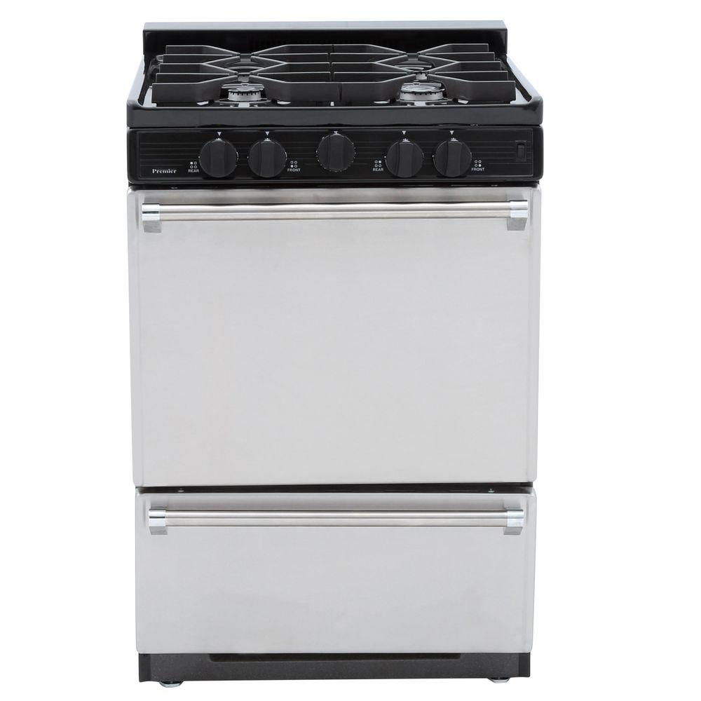 Premier ProSeries 24 in. 2.97 cu. ft. Freestanding Gas Range with Sealed Burners in Stainless Steel