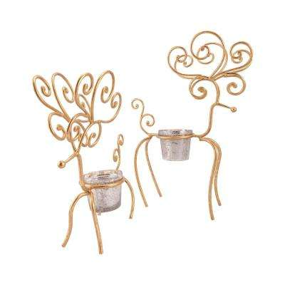Gilded Reindeer 23 in. and 18 in. Iron in Gold and Antique Silver Artifact Glass Candle Holders (Set of 2)