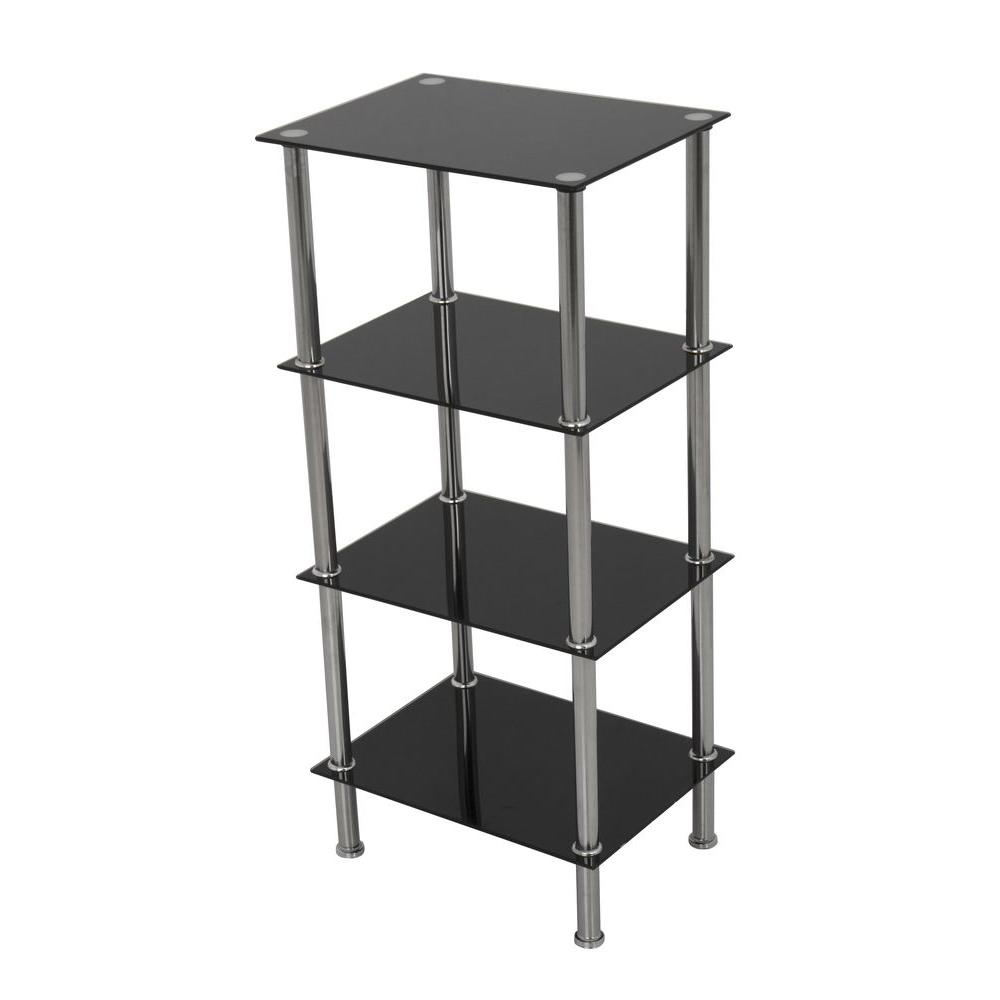 AVF Small 4-Tier Shelving Unit in Black Glass and Chrome-S44-A - The ...