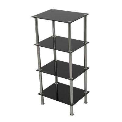 Small 4-Tier Shelving Unit in Black Glass and Chrome