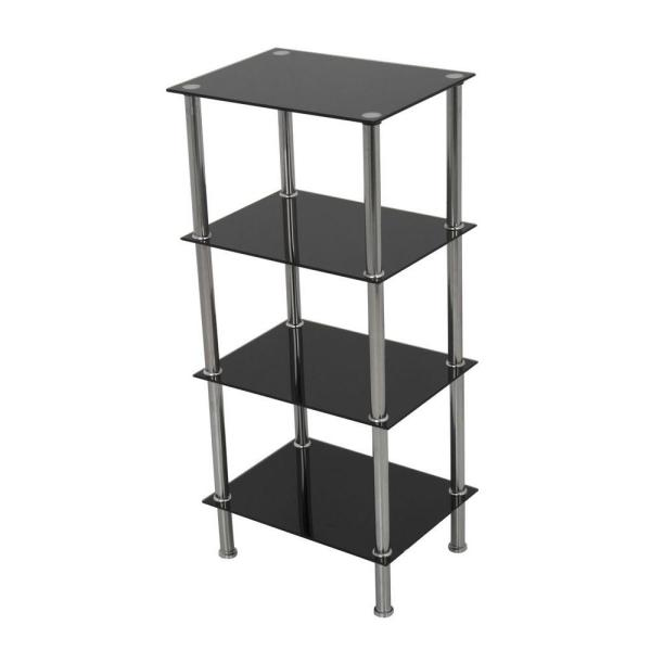 ed69f2205c AVF Small 4-Tier Shelving Unit in Black Glass and Chrome S44-A - The ...