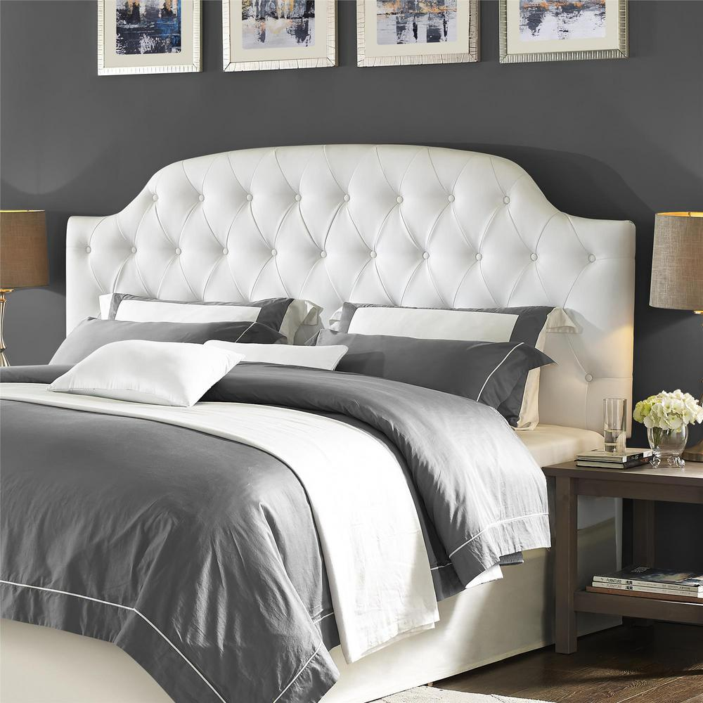 Dorel Living Lyric White King On Tufted Faux Leather Headboard