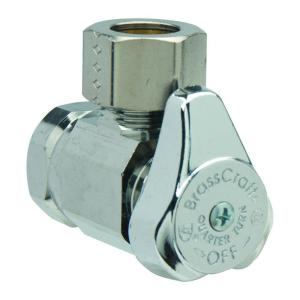 Brasscraft 1/2 inch FIP Inlet x 1/2 inch O.D. Comp Outlet 1/4-Turn Angle Valve by BrassCraft