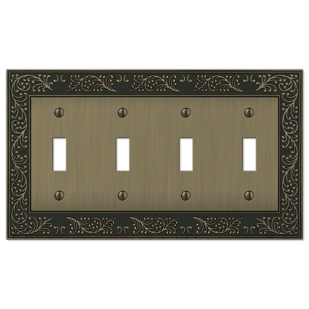 Amerelle English Garden 4 Gang Toggle Wall Plate Brushed Brass