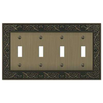 English Garden 4-Gang Toggle Wall Plate, Brushed Brass