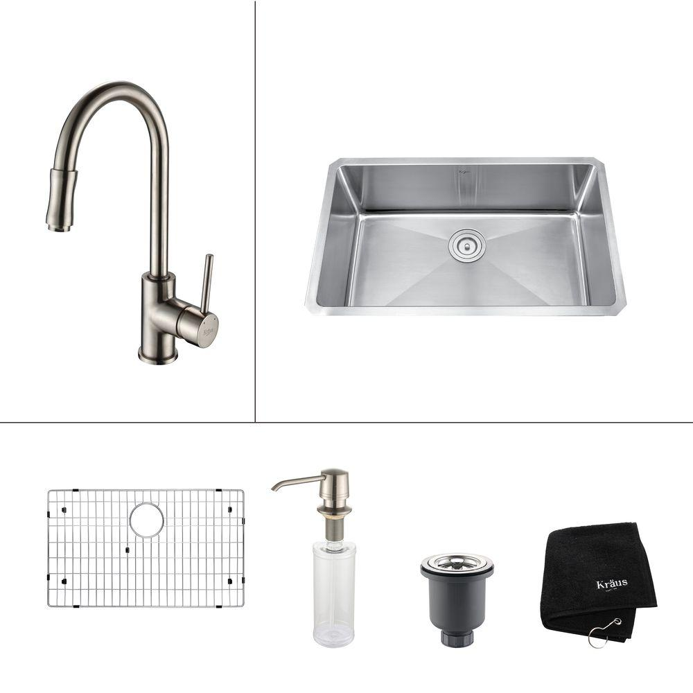 kraus all in one undermount stainless steel 30 in  single bowl kitchen sink kraus all in one undermount stainless steel 30 in  single bowl      rh   homedepot com