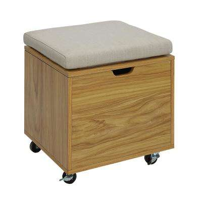 Pearce White and Natural Maple Small Office File Bench