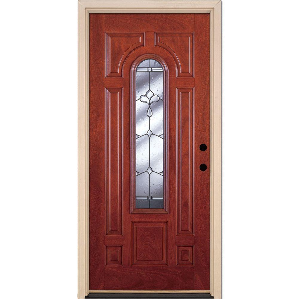 Feather river doors 37 5 in x in phoenix patina for Exterior front door lights
