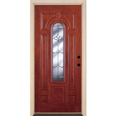 37.5 in. x 81.625 in. Carmel Patina Center Arch Lite Stained Cherry Mahogany Right-Hand Fiberglass Prehung Front Door